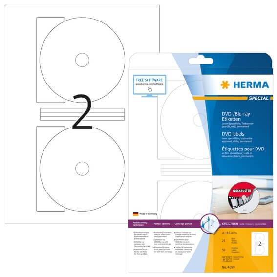 HERMA 4699 DVD-/Blu-ray-Etiketten Maxi A4 Ø 116 mm weiß Folie matt 50 Stück