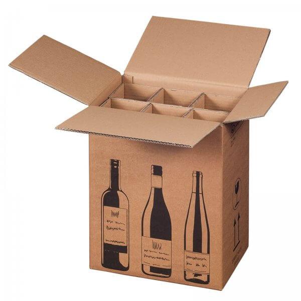Flaschenkarton für 6 Flaschen mit PTZ-Zulassung (DHL/UPS), 305 x 212 x 368 mm