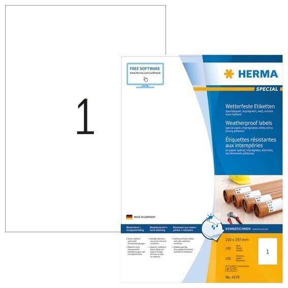 HERMA 4379 Etiketten A4 210x297 mm weiß extrem stark haftend Papier imprägniert 100 Stück