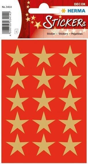 HERMA 3414 10x Sticker DECOR Sterne 5-Zackig gold Ø 22 mm
