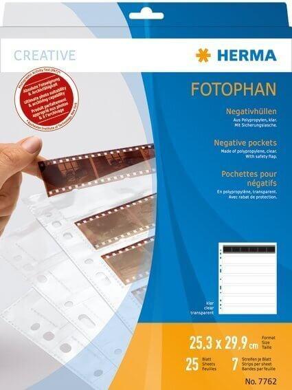 HERMA 7762 Negativhüllen transparent für 7 x 6 Streifen 25 Stück