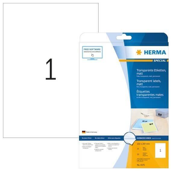 HERMA 4375 Etiketten transparent matt A4 210x297 mm Folie 25 Stück