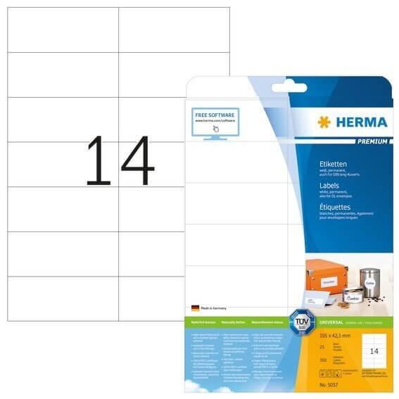 HERMA 5057 Etiketten Premium A4 105x423 mm weiß Papier matt 350 Stück