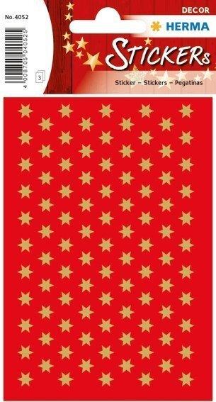 HERMA 4052 10x Sticker DECOR Sterne 6-zackig gold Ø 6 mm