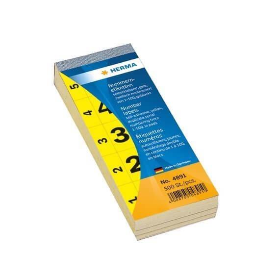 HERMA 4891 Nummernblock selbstklebend 1-500 gelb 28x56 mm