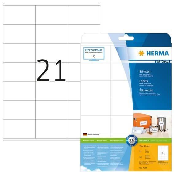 HERMA 4361 Etiketten Premium A4 70x42 mm weiß Papier matt 525 Stück