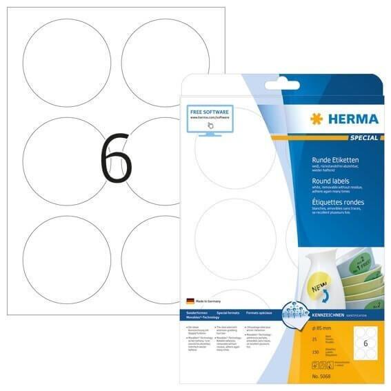 HERMA 5068 Ablösbare Etiketten A4 Ø 85 mm rund weiß Movables/ablösbar Papier matt 150 Stück