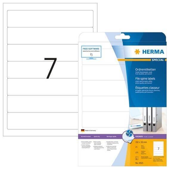 HERMA 4825 Inkjet Ordneretiketten A4 192x38 mm weiß Papier matt 175 Stück