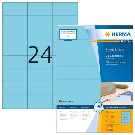 HERMA 4408 Farbige Etiketten A4 70x37 mm blau Papier matt 2400 Stück