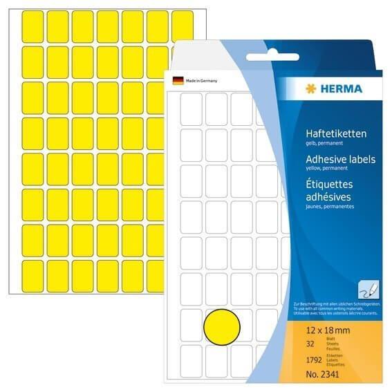 HERMA 2341 Vielzwecketiketten 12 x 18 mm Papier matt Handbeschriftung 1792 Stück Gelb
