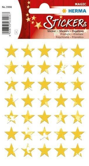 HERMA 3998 10x Sticker MAGIC Sterne 5-zackig gold Prismaticfolie Ø 8 mm
