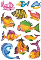 HERMA 3524 10x Sticker DECOR Bunte Fische