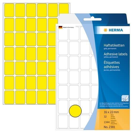 HERMA 2381 Vielzwecketiketten 16 x 22 mm Papier matt Handbeschriftung 1344 Stück Gelb