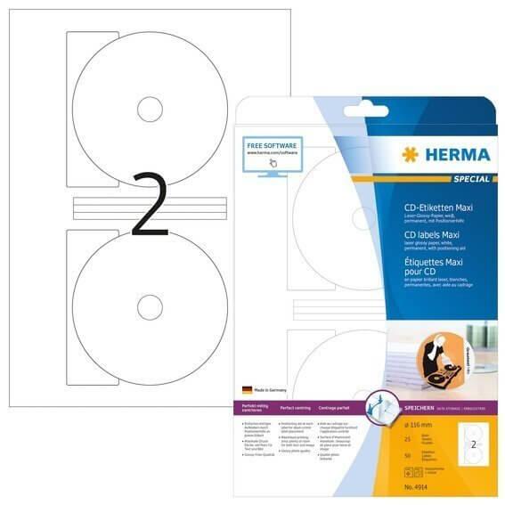 HERMA 4914 CD-Etiketten Maxi A4 Ø 116 mm weiß Papier glänzend 50 Stück