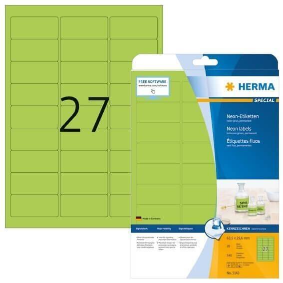 HERMA 5143 Neonetiketten A4 635x296 mm neon-grün Papier matt 540 Stück
