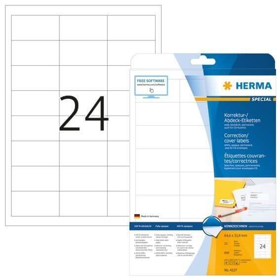 HERMA 4227 Korrektur-/Abdecketiketten A4 64,6x33,8 mm weiß Papier matt blickdicht 600 Stück
