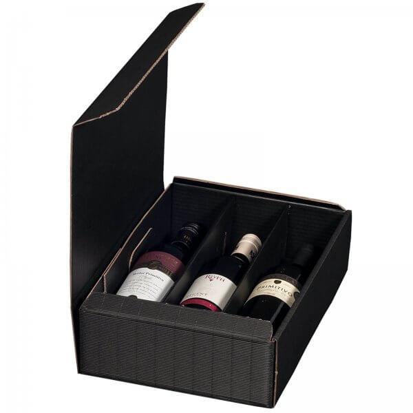 Geschenkkarton für 3 Flaschen Wein 252 x 96 x 363 mm Schwarz