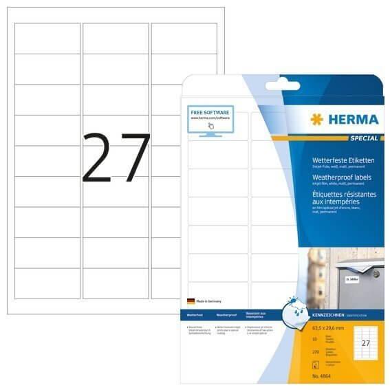 HERMA 4864 Inkjet-Etiketten A4 635x296 mm weiß Folie matt wetterfest 270 Stück