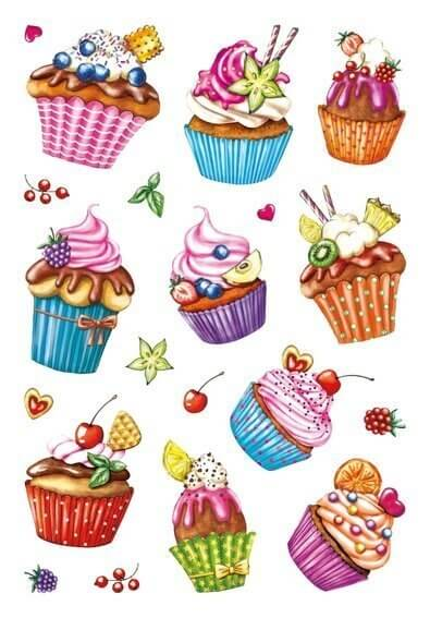 HERMA 3387 10x Sticker DECOR Cupcakes Folie beglimmert