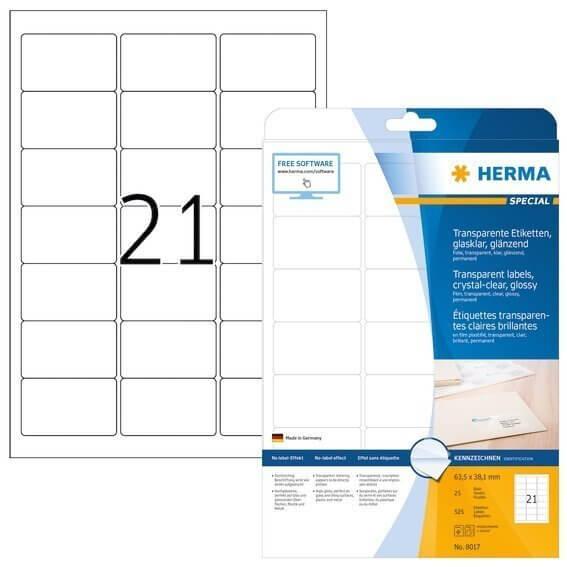 HERMA 8017 Etiketten transparent glasklar A4 635x381 mm transparent klar Folie glänzend 525 Stück