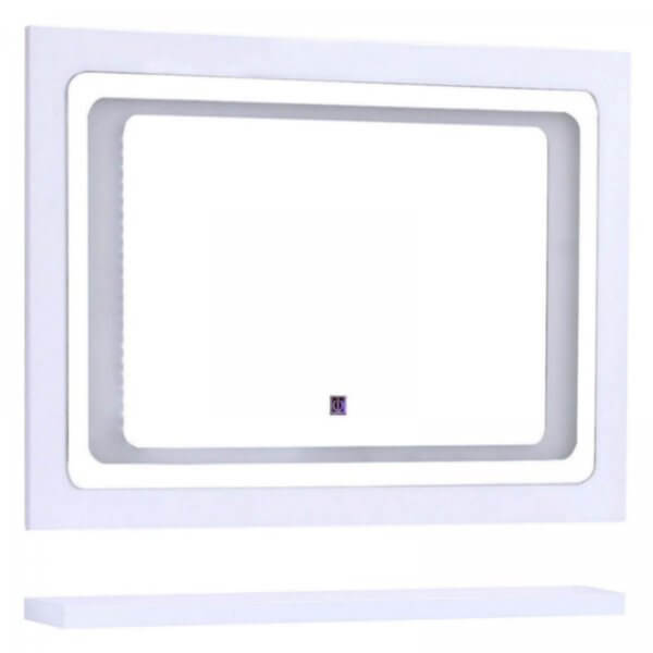 Midori Badmöbel Set Spiegel LED Touch Weiß Hochglanz 70 cm
