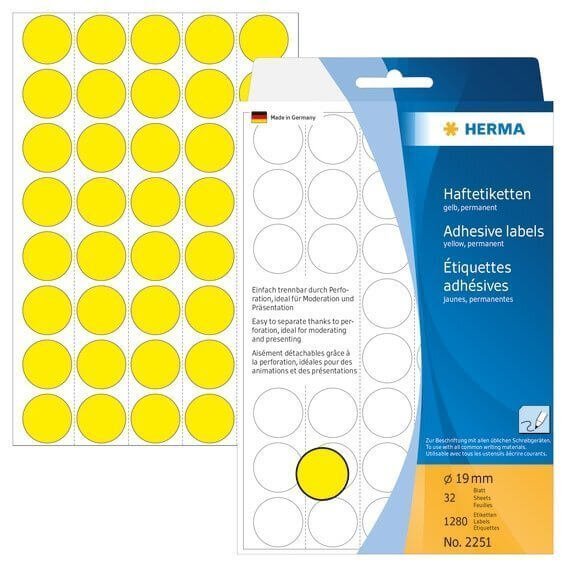 HERMA 2251 Vielzwecketiketten/Farbpunkte Ø 19 mm rund Papier matt Trägerpapier perforiert 1280 Stück