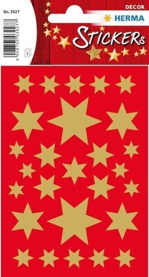 HERMA 3927 10x Sticker DECOR Sterne 6-zackig gold