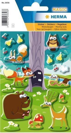 HERMA 3656 10x Sticker MAGIC Tiere im Wald Wackelaugen