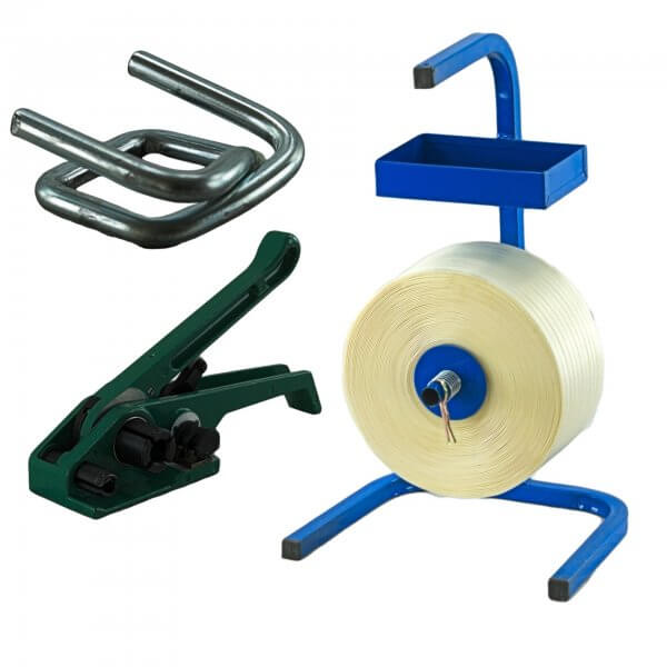 Umreifungsset 16 mm Textil Abroller Bandspanner Metallklemmen verzinkt