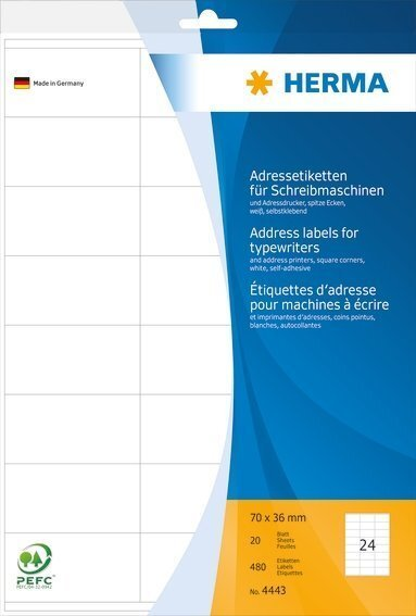HERMA 4443 Adressetiketten für Schreibmaschinen A4 70x36 mm Papier matt Ecken spitz 480 Stück