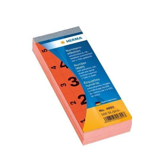 HERMA 4892 Nummernblock selbstklebend 1-500 rot 28x56 mm