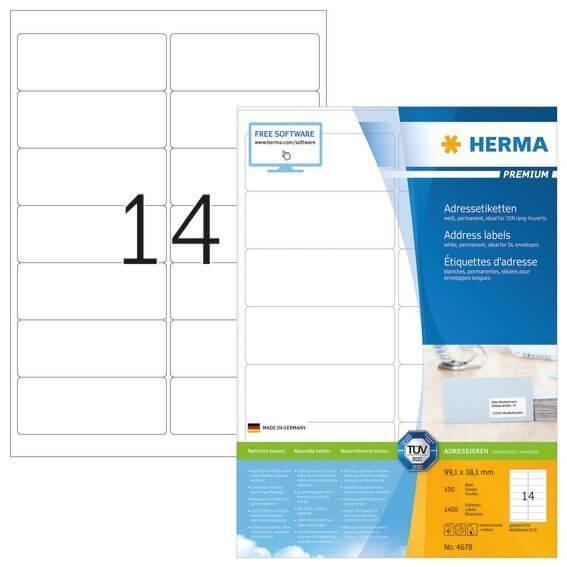 HERMA 4678 Adressetiketten Premium A4 991x381 mm weiß Papier matt 1400 Stück