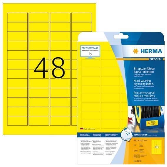 HERMA 8030 Signal-Etiketten strapazierfähig A4 457x212 mm gelb stark haftend Folie matt wetterfest 1