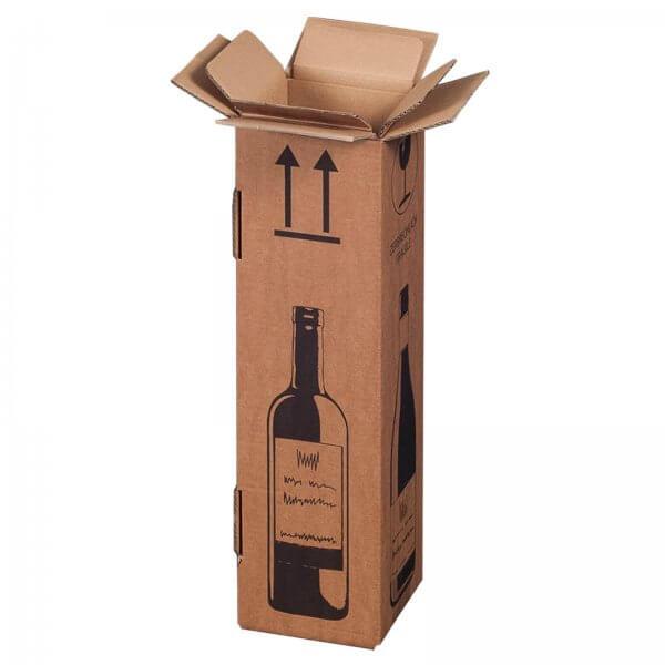 Flaschenkarton für 1 Flasche mit PTZ-Zulassung (DHL/UPS), 106 x 106 x 420 mm