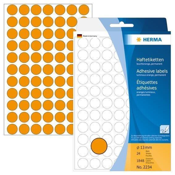 HERMA 2234 Vielzwecketiketten/Farbpunkte Ø 13 mm rund Papier matt Handbeschriftung 1848 Stück Leucht