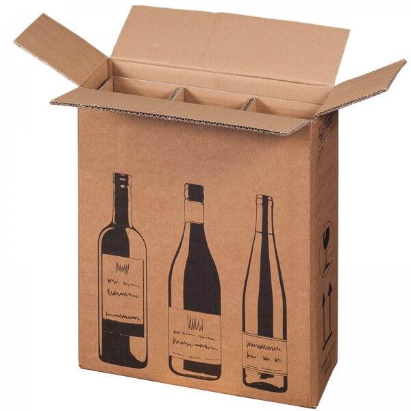 Flaschenkarton für 3 Flaschen mit PTZ-Zulassung (DHL/UPS), 305 x 108 x 368 mm