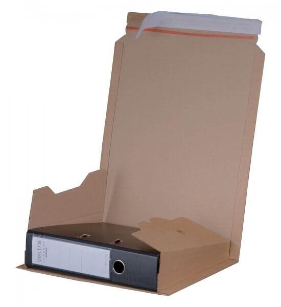Ordnerversandkarton 320 x 285 x 35-80 mm mit Selbstklebeverschluss Braun