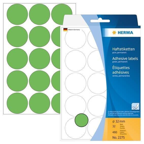 HERMA 2275 Vielzwecketiketten/Farbpunkte Ø 32 mm rund Papier matt Handbeschriftung 480 Stück Grün